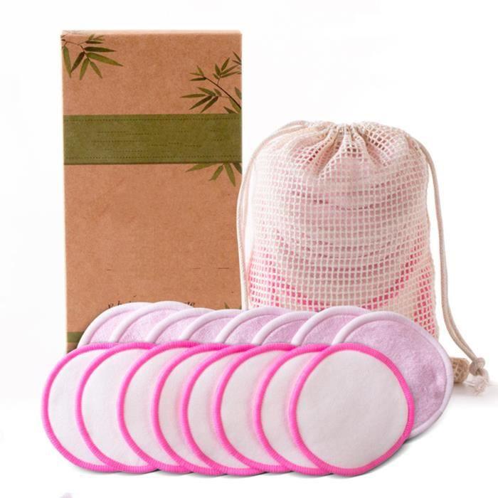 Tampons Démaquillants Fibre De Bambou, Disques Coton Demaquillant Lavable, Sac De Lavage, Lavable Et Réutilisable - 16Pcs Rose