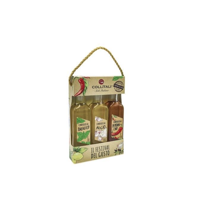 COLLITALI TRIO HUILES OLIVES AROMATISEES Italie : bouteilles Ail / Piment / Basilic 100 ml