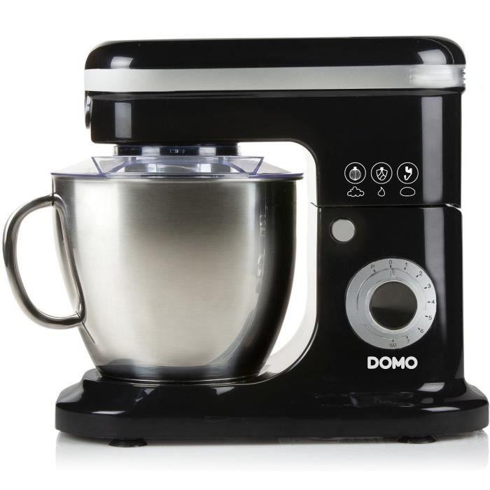 DOMO Robot pâtissier DO1023KR Bol mélangeur de 6 l en inox brossé avec poignée - Noir