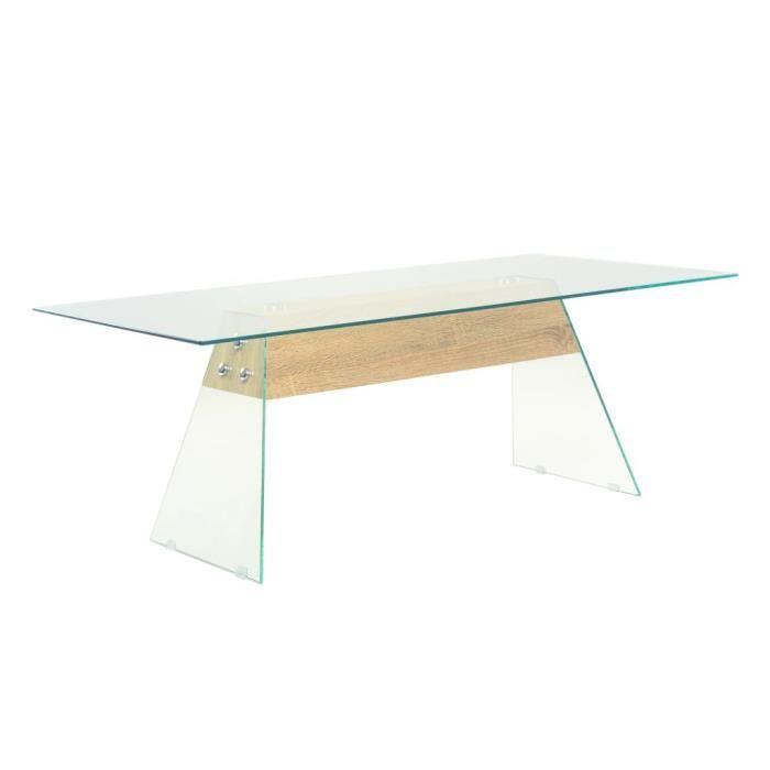 MAGIC Table basse MDF et verre 110 x 55 x 40 cm Couleur de chêne