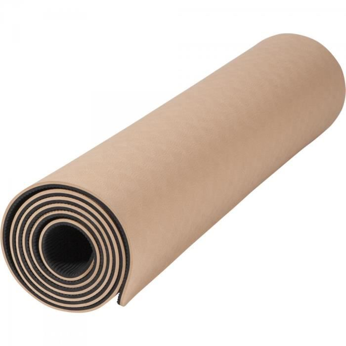 Tapis de Yoga - pilates - en TPE - double face bicolor noir et brun de 180cm x 60cm x 0,6cm