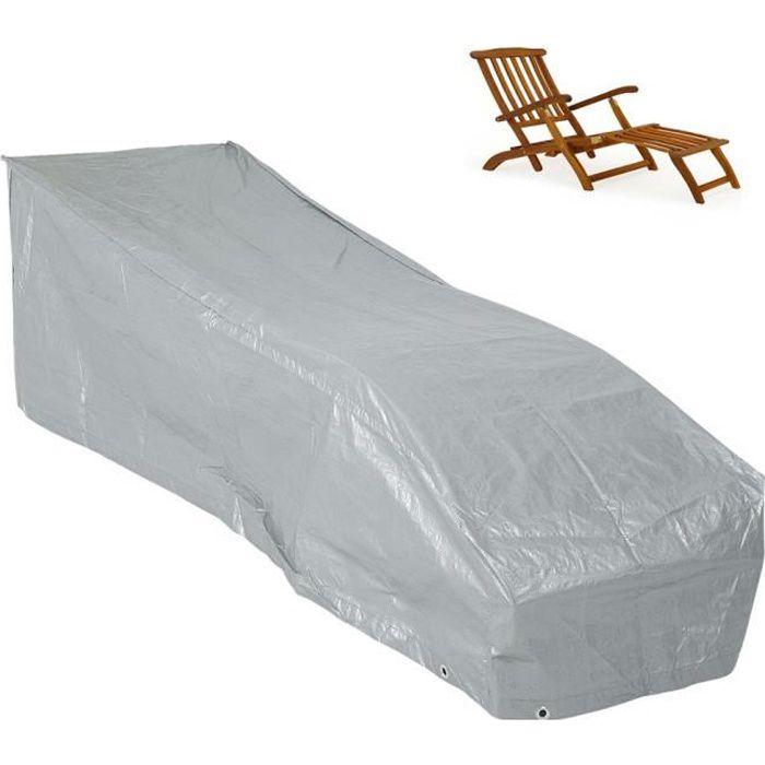 Kingsleeve - Bâche de Protection - Housse pour Chaise Longue/Bain de Soleil • grise • PE résistant aux intempéries & déchirures