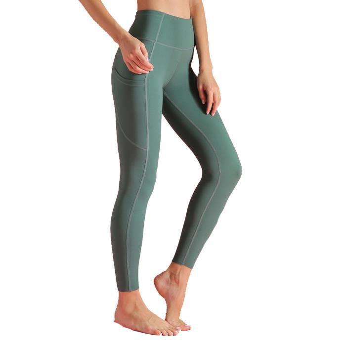 Femme LEGGING DE COMPRESSION Taille Haute avec 6 Poches,COLLANT DE COMPRESSION Naked Feeling,pour Fitness Jogging émeraude