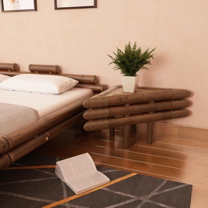 Lot de 2 chevets scandinave Table de Nuit 2 pcs Contemporain 60 x 60 x 40 cm Bambou Marron foncé