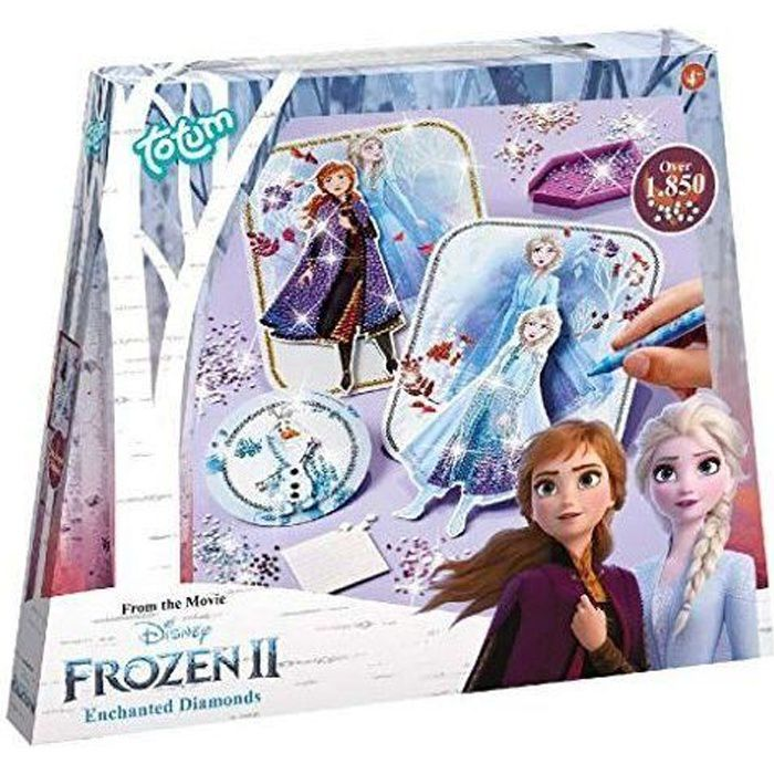 Totum- Diamant Bastel-Set Frozen II kit créatif-Reine des Neiges-Enchantes Diamonds-Crée tes Personnages avec des Strass, 680722, Mu