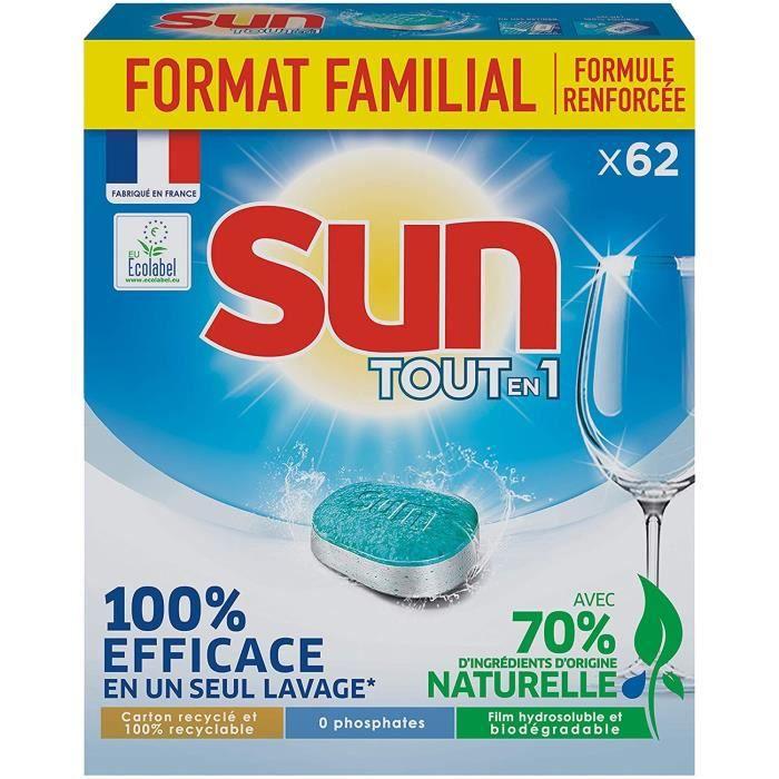 SUN Tablettes Lave-Vaisselle Standard - Format familial - 62 Lavages