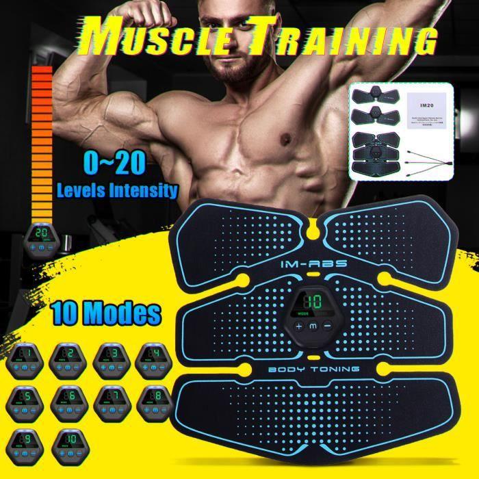 TEMPSA 8PCS Appareil de Musculation Fitness Muscle équipement Écran LCD Stimulateur rechargeable USB