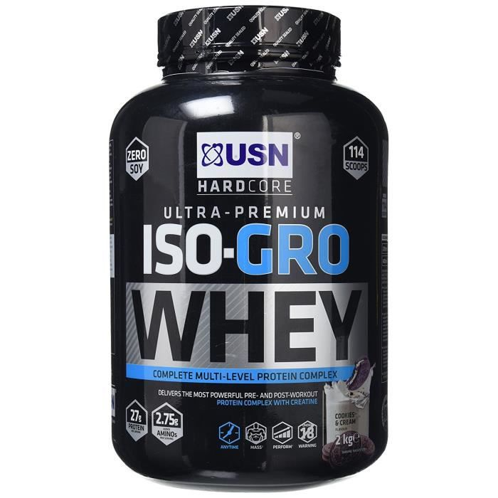 USN ISO-GRO Whey, Cookies and Cream, 2 kg