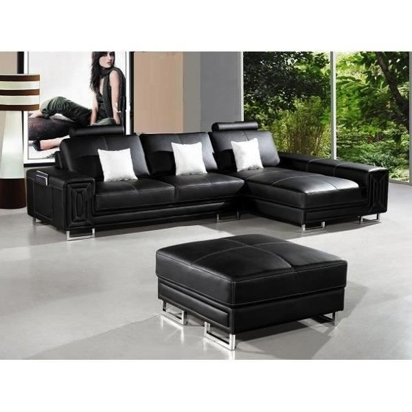 canap d 39 angle en cuir noir avec m ridienne achat vente canap sofa divan cdiscount. Black Bedroom Furniture Sets. Home Design Ideas