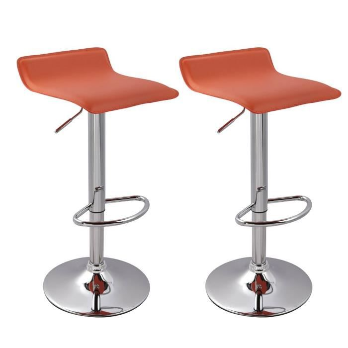 Lot de 2 tabourets de bar orange hauteur r glable achat - Tabouret de bar hauteur reglable ...