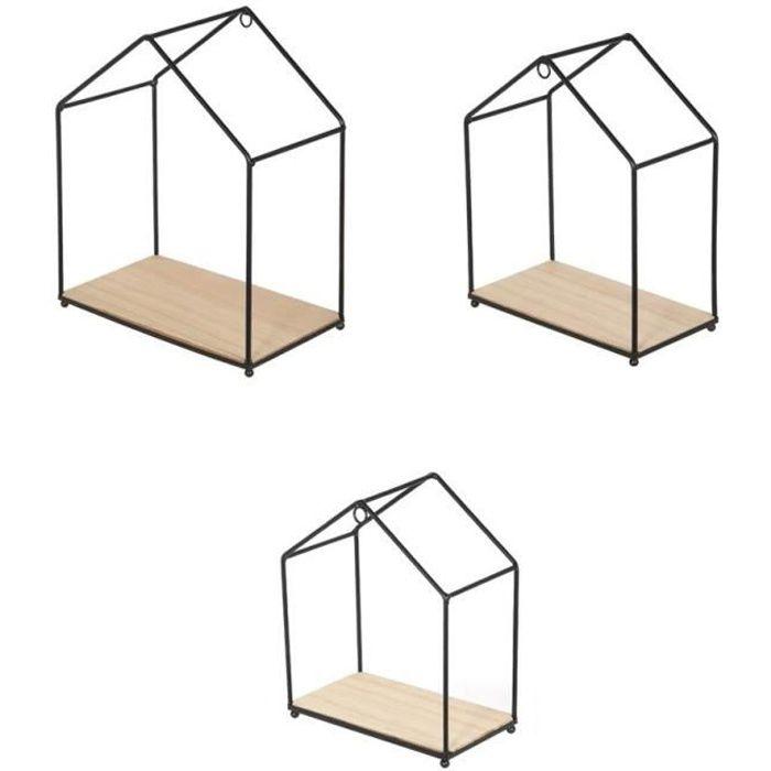 Home Lot De 3 Etageres Murales Filaires En Forme De Maison Bois Et Metal 23x27x13 20x24x11 17 5x20 5x9 5 Cm
