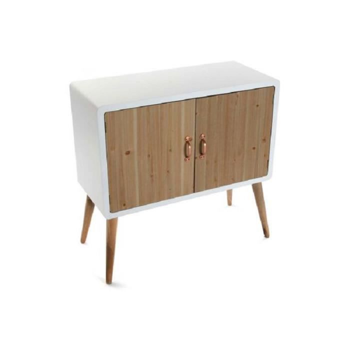 commode style scandinave blanche avec 2 portes en bois h77. Black Bedroom Furniture Sets. Home Design Ideas