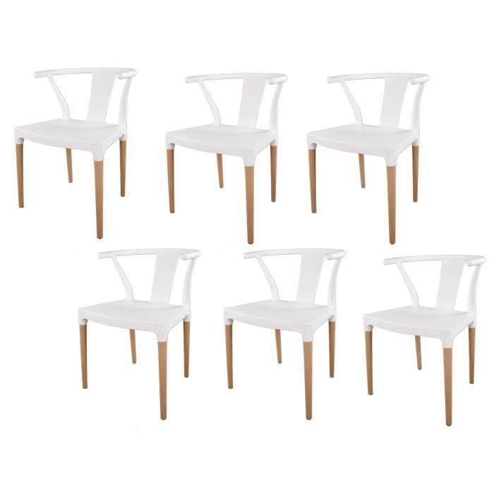 à de blanc 6 scandinave salle Lot chaises de CHELSEA manger DHIE92WY