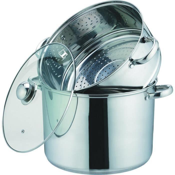 Couscoussier Couvercle Cuit Vapeur 9 L Noir Pour Cuisiner Comme Sur De La Pierre 24 Cm De Diametre Tous Feux Dont Induction Klaus