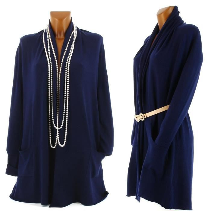 gilet long cardigan pull cachemire ted femme bleu marine achat vente gilet cardigan. Black Bedroom Furniture Sets. Home Design Ideas