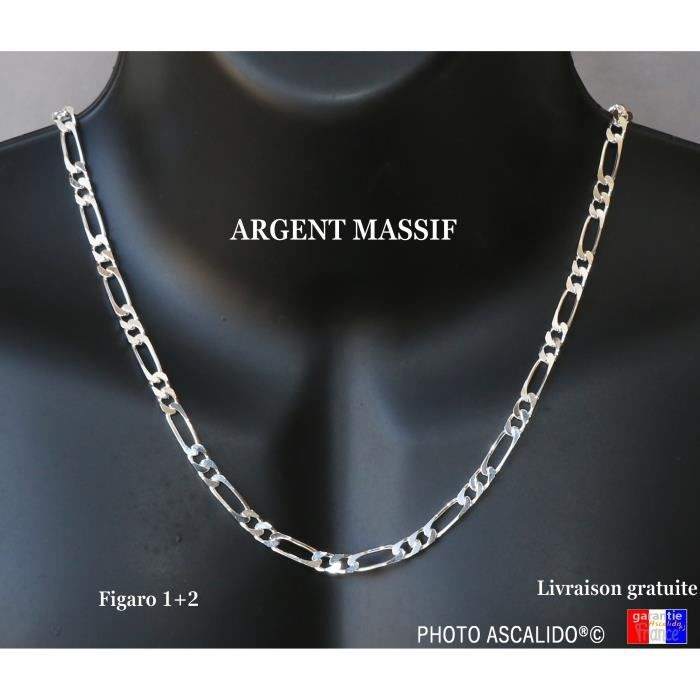 CHAINE Plaqué OR Homme maille Figaro 1-2 60 cm neuf