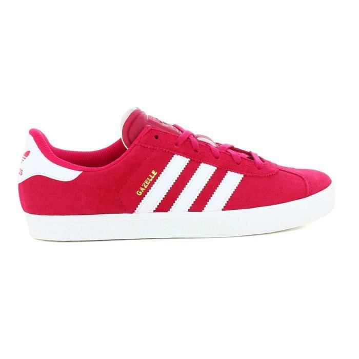 Basket basse adidas gazelle 2 junior ba29315 rose blanc nubuck lacets