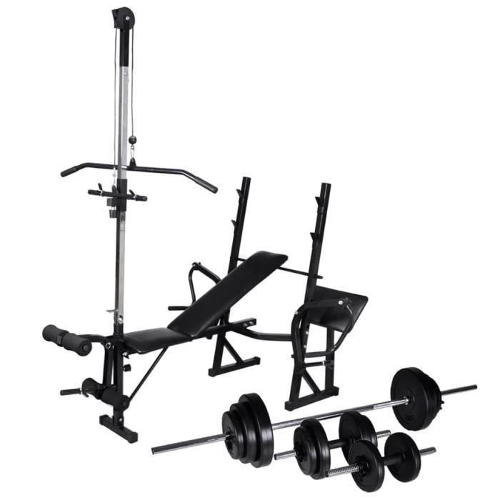 Banc D Entrainement Avec Support De Poids Banc De Musculation Jeu D Halteres 30 5kg Prix Pas Cher Cdiscount