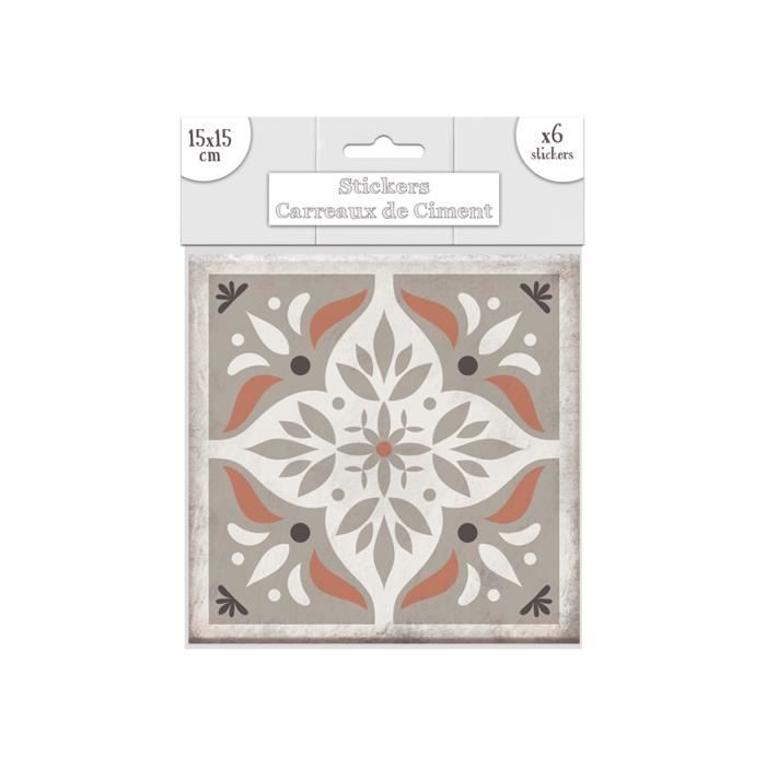 Stickers Carrelage 15X15 6 stickers carreaux de ciment losange - 15 x 15 cm - taupe - achat