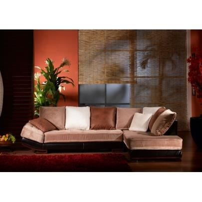 canap d 39 angle velours et cuir bycast mekong bei achat vente canap sofa divan cuir. Black Bedroom Furniture Sets. Home Design Ideas
