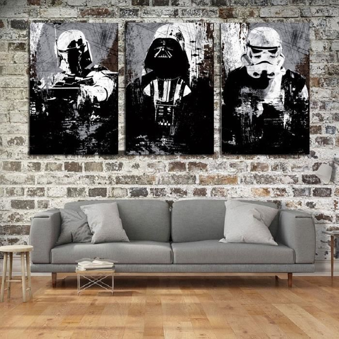 TABLEAU - TOILE 3 Panels Star Wars Characters Toile Tableau Home D