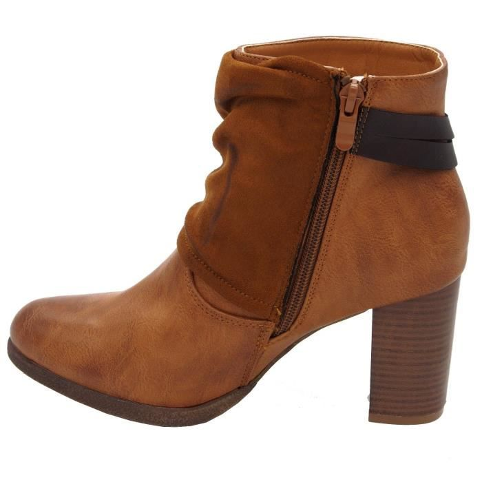 Bottines à talon simili cuir Chaussures femmes Low boots