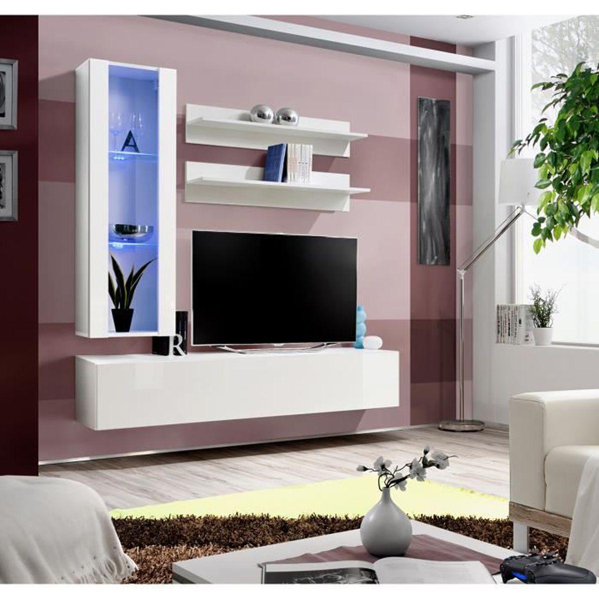 Panneau Mural Derriere Tv ensemble meuble tv mural fly-h blanc de haute brillance avec led