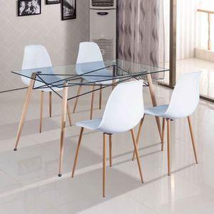 TABLE À MANGER COMPLÈTE Table à manger en verre avec 4 chaises scandinaves