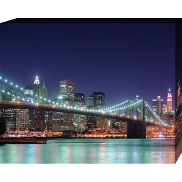 new york poster reproduction sur toile tendue sur ch ssis panorama nocturne du pont de. Black Bedroom Furniture Sets. Home Design Ideas