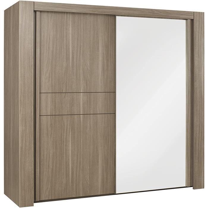 Moka Armoire 2 Portes coulissantes-Dressing-Finition Bois-63 x 249 x 220 cm[197]