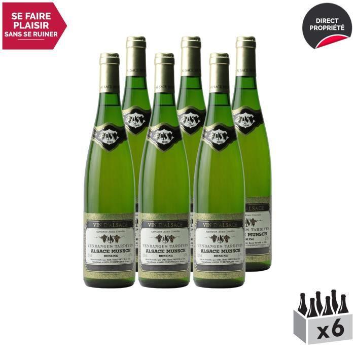Alsace Riesling Vendanges Tardives Blanc 2000 - Lot de 6x75cl - Alsace Munsch - Vin AOC Blanc d' Alsace - Cépage Riesling