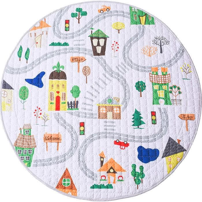 Winthome Tapis de Jeu Tapis d'Éveil Pliable Multi-fonction Organisateur de Jouets pour Bébé Enfant Tout-petit Motif Cartoon Coloré (
