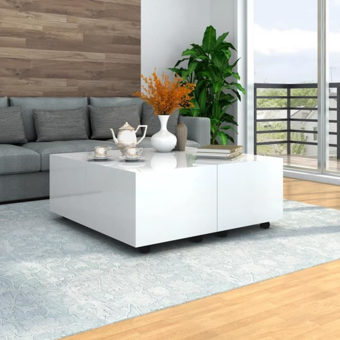 Table basse carrée style contemporain Blanc brillant 100 x 100 x 35 cm -XNAHB029
