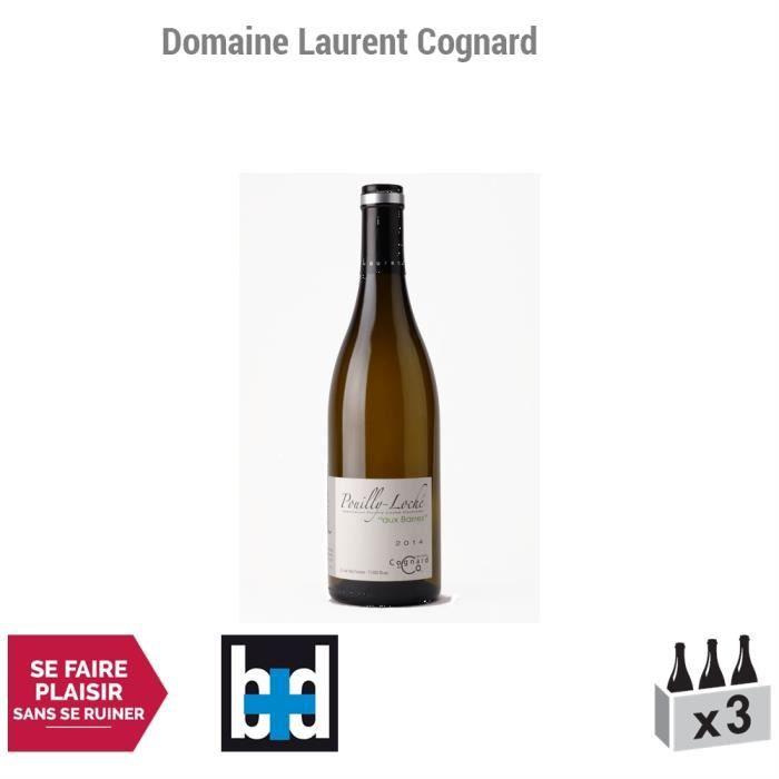 Pouilly-Loché Aux Barres Blanc 2014 - Domaine Laurent Cognard - Vin AOC Blanc de Bourgogne - Lot de 3x75cl - 14,5-20 Bettane