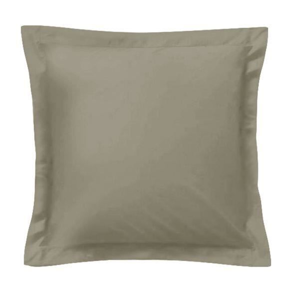 Taie d'oreiller carrée - 65 x 65 cm - 57 fils - 100% coton - France - Taupe