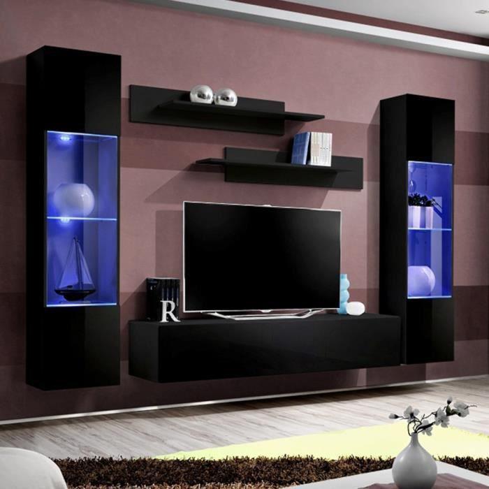 Ensemble meuble TV suspendu noir LARISSA Noir L 260 x P 40 x H 190 cm