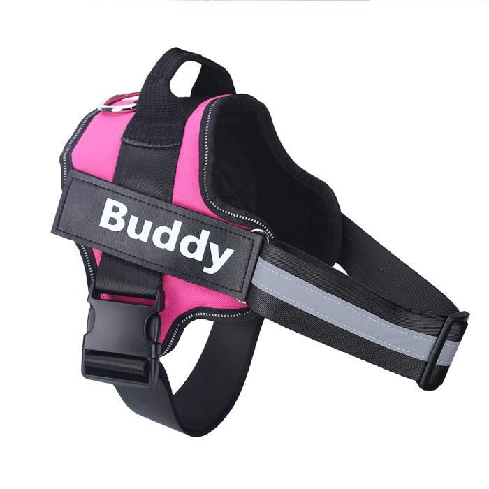 Harnais pour chien personnalisé sans traction réfléchissant respirant réglable harnais pour ani - Modèle: Rose Red M - HOCWMJA00089