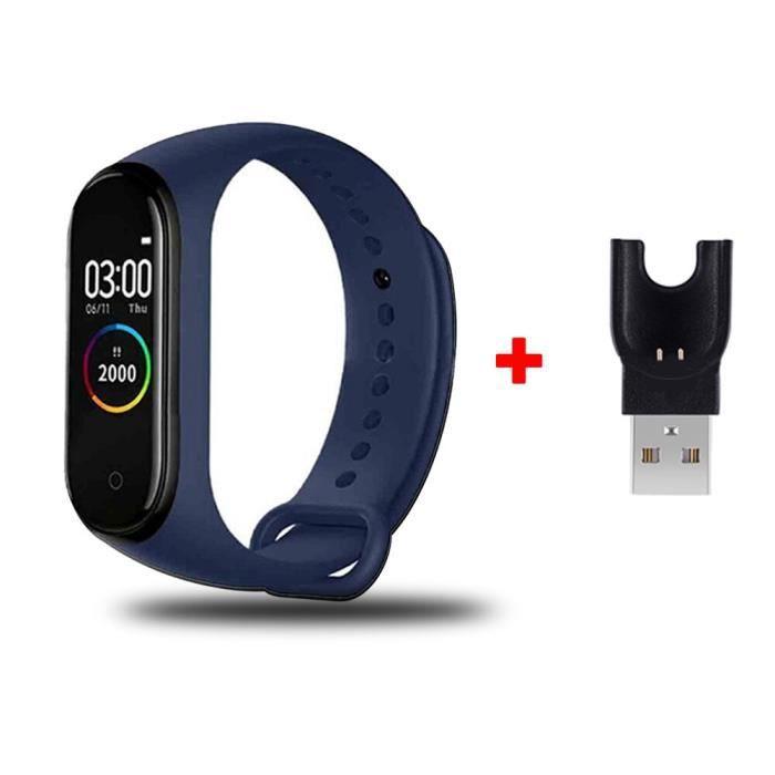 Bracelet connecté sportif, étanche, avec podomètre, capteur d'activité physique avec suivi de la fréquence cardiaqu blue -CLAT1650