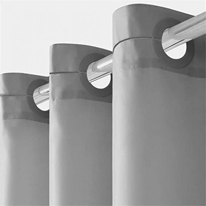 rideau de douche anti moisissure lavable en machine long rideaux de douche à oeillets imperméable tissu polyester gris pour baigoire