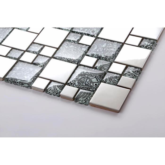 Carrelage mosaïque en verre et acier inoxydable. Gris, Argent. Offre proposée pour l'achat d'un petit échantillon (MT0132)