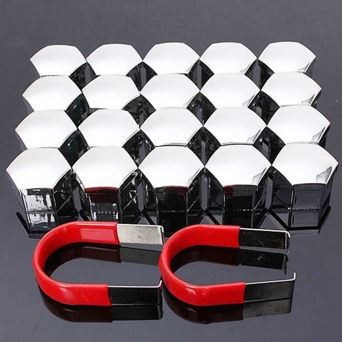 NEUFU 20Pcs 17mm Cache Écrou Bouchon Boulon Enjoliveur Roue Plastique Hexagone Auto Chrome Sh70514