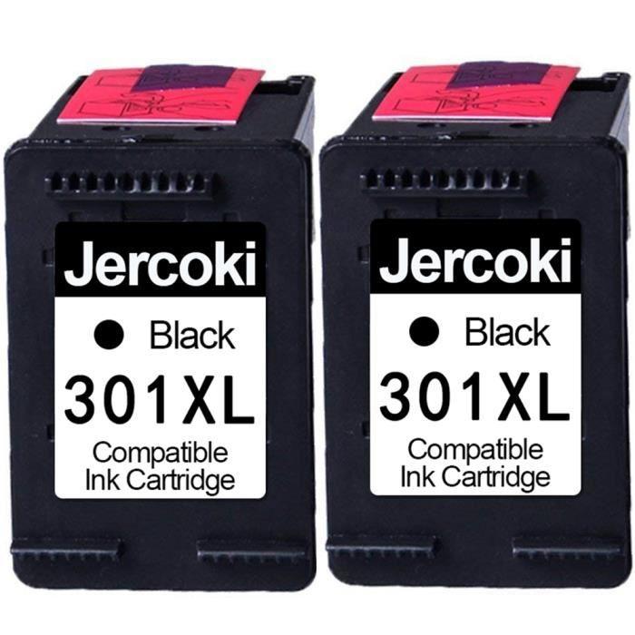 2 Noir Cartouches d'encre Compatible pour HP 301 XL Compatible pour Envy 4500 4507 5530 DeskJet 2054A 2510 2540 2050A 1510 3050A