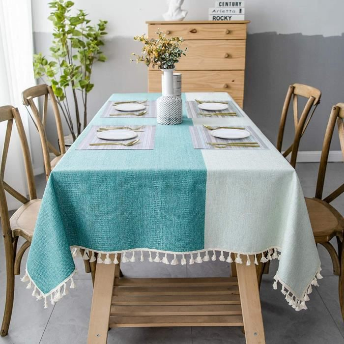 NAPPE DE TABLE SUNBEAUTY Nappe Rectangulaire Coton Lin 140x220 Linen Tablecloth (+ 4pcs Napperon Plastique) Cotton Table Cloth R247