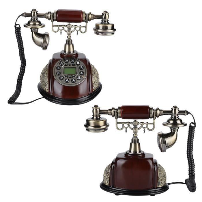 Téléphone Office Home Landine, Téléphone Fixe Retro Phone FSK/DTMF avec Fonction Pause et Recomposition