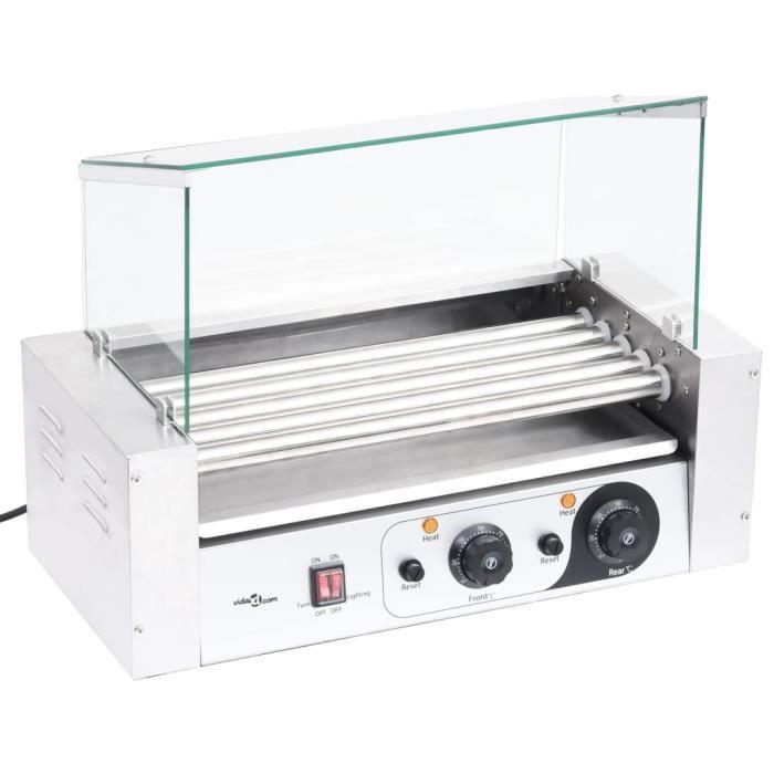 CHEZ©3825Parfait MACHINE À HOT DOG Grill Saucisses - Grill à hot-dogs Professionnel Contemporain pour Les Petits Pains à 5 rouleaux