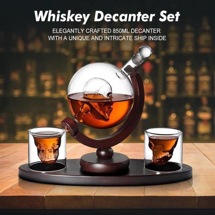 Carafes vin,Ensemble de décanteurs de whisky 850ml Set de décanteurs de whisky, Vodka pour crâne, Globe avec 2 verres - Type Brown