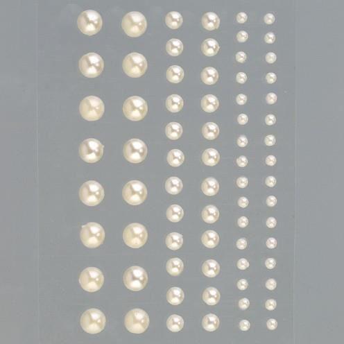 Set de 72 Demi-perles autocollantes crème nacrées