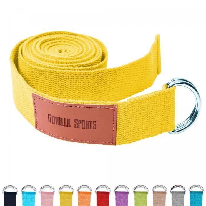 Sangle de Yoga Jaune - 100% coton - Sangle pour étirements - Fermetures en métal