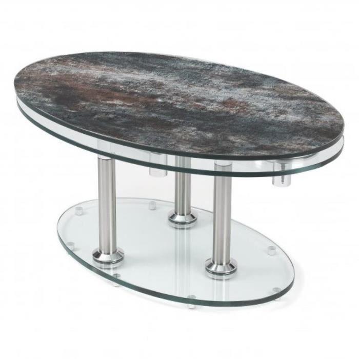Table basse DOUBLE CÉRAMIQUE ANTHRACITE à plateaux pivotants en verre transparent Ceramique Inside75