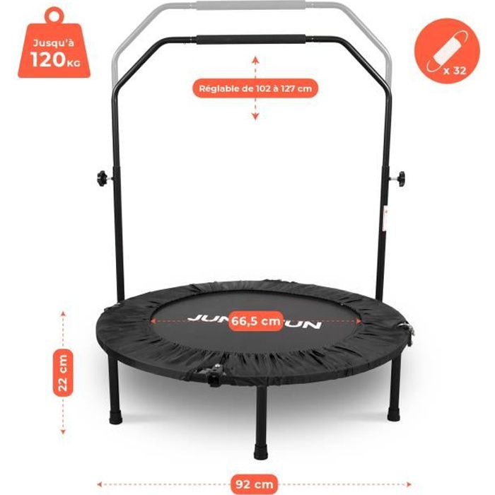 Mini Trampoline Fitness Jump4fun Pliable Double-Bar - Ø92cm, Noir